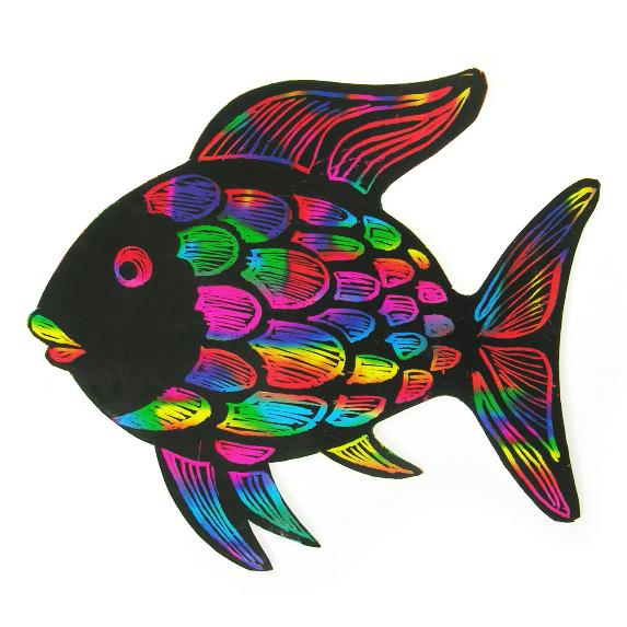 모양스크래치_무지개물고기(10매 1팩)
